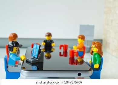Alcobendas, Madrid, Spain. March 9, 2018. Business meeting, focus on the women. Lego minifigures are manufactured by The Lego Group.