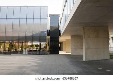 Alcobendas, Spain - April 16, 2017: Library built in gray cement and glass by the architect Rafael de la Hoz. Espacio Miguel Delibes in Alcobendas, Spain.