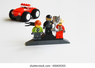 Alcobendas, Spain - Septembrer 27, 2014: Race winner climbed on the podium with its competitors, Lego minifigures are manufactured by The Lego Group.