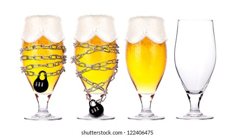 alcohol abuse concept - background with beer locked on a chain  isolated