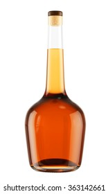 Alcohol bottle with a wooden stopper isolated on white background. Tincture, balsam, whiskey, cognac, brandy, wine. 3D Mock up for you design.
