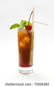 Alcohol cocktail with cherry and mint