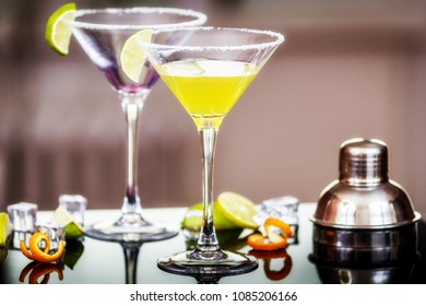 Alcohol cocktail Daiquiri with rum and lime