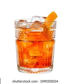 Alcohol cocktail Negroni isolated on white background