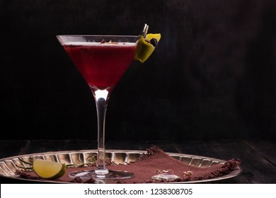 Alcohol Cocktail on Black Background