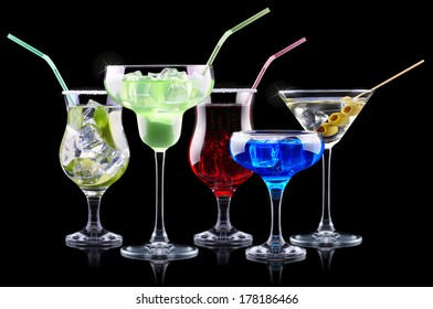 alcohol cocktail set. Berry cooler cocktail, martini, mojito,  Pina Colada