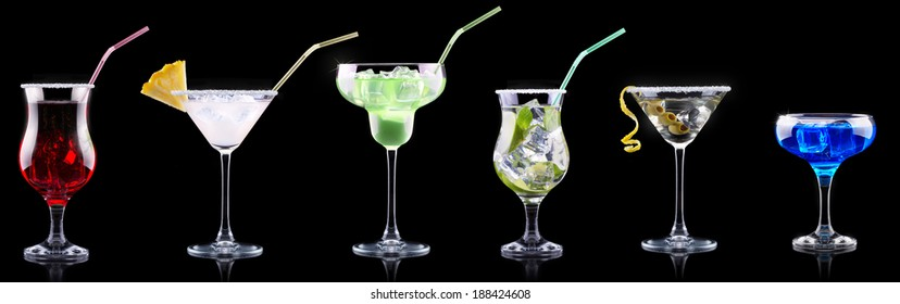 alcohol cocktail set on a black party background