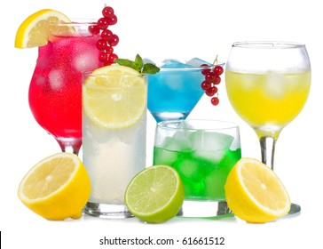 alcohol cocktails with fruits and berries on white background