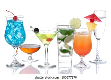 Alcohol Cocktails. Many drinks beverages Blue lagoon, mojito; tropical Martini, tequila sunrise, margarita, champagne and cognac glass, cocktail umbrella cherry, lime, pineapple on white background