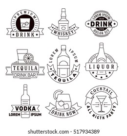 Alcohol drinks emblems, badges, logo set. Alcohol beverage whiskey and tequila, labels for vodka and liquor