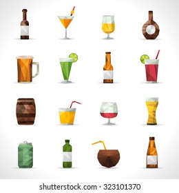 Alcohol drinks polygonal icons set with beer bottle cocktail glass isolated  illustration