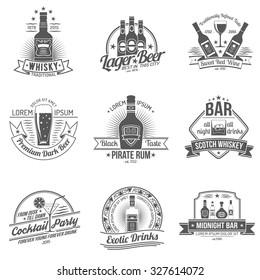 Alcohol drinks premium quality black label set isolated  illustration