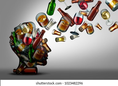 Alcohol education and awareness of the risk or dangers of drink consumption as a 3D illustration.