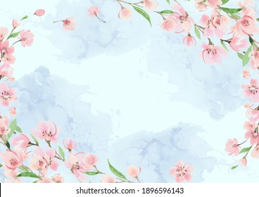 Alcohol ink background and cherry blossom frame