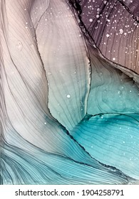 Alcohol ink colors. Abstract multicolored blue and grey texture background. Mixing acrylic paints. Modern fluid art. Alcohol Ink Pattern.
