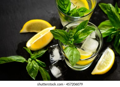 Alcohol or non alcohol lemon and basil drink, infused water or jin cocktail