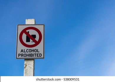 Alcohol prohibited sign and blue sky background