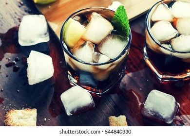 alcohol, Rum, ice, coctail, Top view, closeup