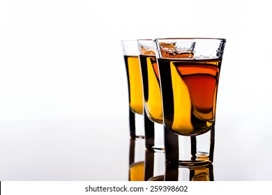 Alcohol in shot glasses