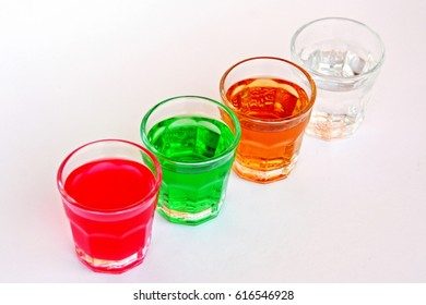 alcohol shots in different colors