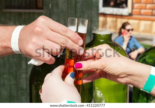 Alcohol Tincture Testtube Street Food Festival Stock Photo (Edit Now