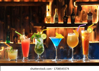 Alcohol tropical coctails in the bar