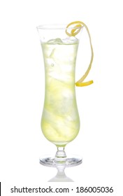 Alcohol yellow margarita cocktail with crushed ice in highball glass isolated on white background