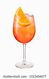 Alcoholic Aperol Spritz Cocktail Isolated on White with Clipping Path