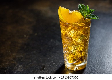 alcoholic beverage cocktail drink ice cube lemon and mint portion on the table meal outdoor top view copy space for text food background rustic image