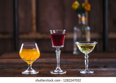 Alcoholic beverages in the modern bar , different coctails from restaurante menu , copy space