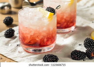 Alcoholic Blackberry Gin Bramble Cocktail with Lemon