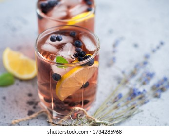 Alcoholic blueberry cocktail with lavender gin and tequila or blueberry Mojito