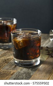 Alcoholic Boozy Black Russian Cocktail with Vodka and Coffee Liquor