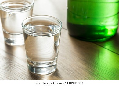Alcoholic Clear Distilled Korean Soju in a Shot Glass