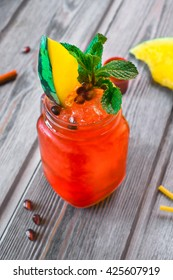 alcoholic cocktail with berries and watermelon