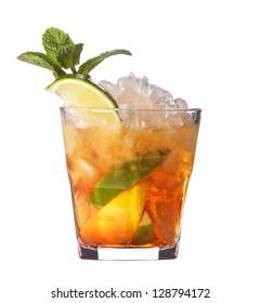 alcoholic cocktail isolated on white background