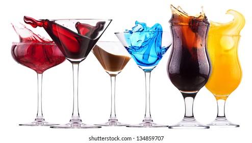 alcoholic cocktail set  splash - Red cosmopolitan, Blue Curacao, Chocolate cocktail, Fresh cola, Orange juice