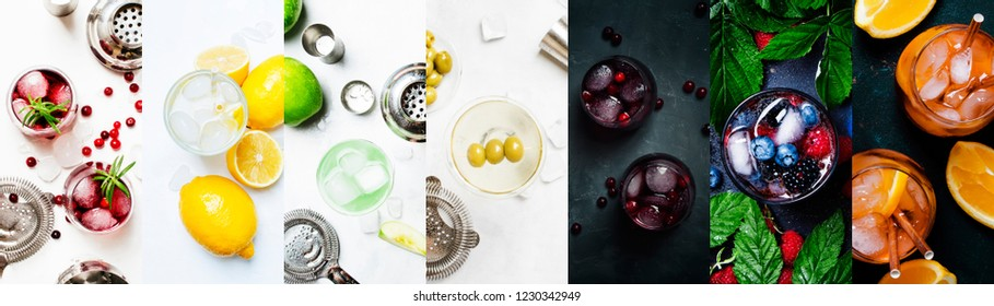 Alcoholic cocktails in assrtment. Top view, flat lay. Photo collage