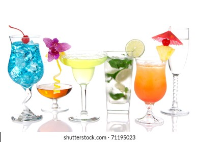 Alcoholic Cocktails. Many drinks beverages Blue hawaiian, mojito; Sex on the beach, tropical  Martini, tequila sunrise, margarita, champagne and cognac glass, cocktail umbrella, cherry, lime