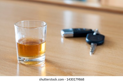 Alcoholic drink, breathalyzer and car keys - do not drink and drive concept