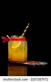 alcoholic drink on a black background