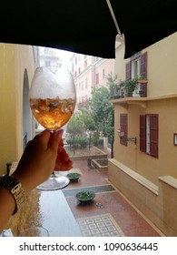 Alcoholic drink on a rainy day in Beirut