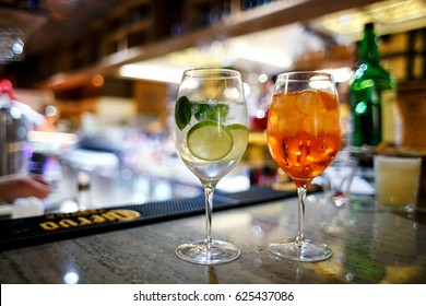 Alcoholic drinks at the bar