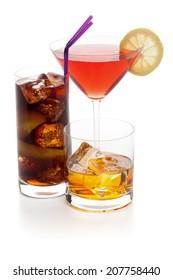 Alcoholic drinks isolated on white.