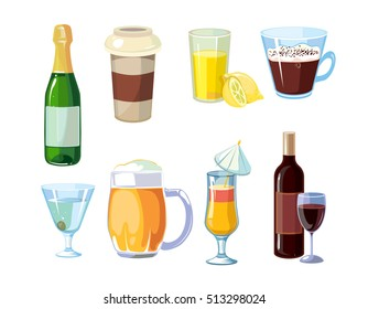 Alcoholic and non alcoholic drinks. Different beverages with bottles and glasses. icons