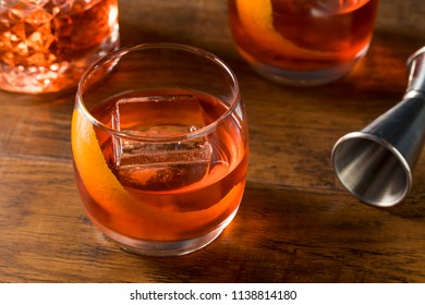 Alcoholic Red Negroni Cocktail with Vermouth Gin and Oranges