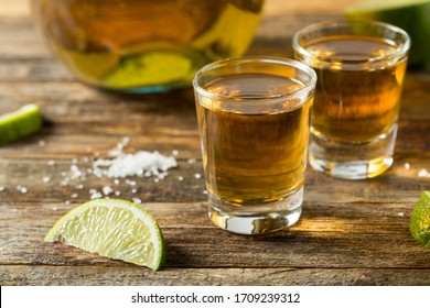 Alcoholic Reposado Tequila Shots with Lime and Salt