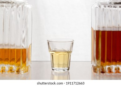 Alcoholic spirits and drinks concept background, with copy space