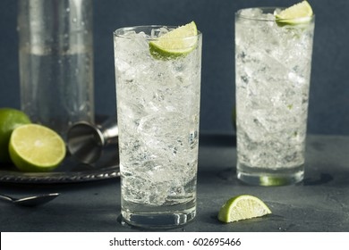 Alcoholic Vodka Tonic Highball Cocktail with a Lime Garnish