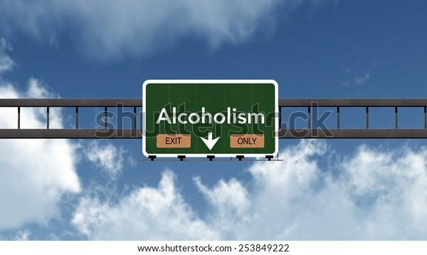 Alcoholism Highway Exit Only Road Sign Concept 3D Illustration